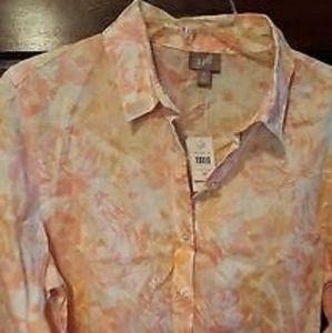 NWT JJill floral linen blouse. Peach & cream PM.